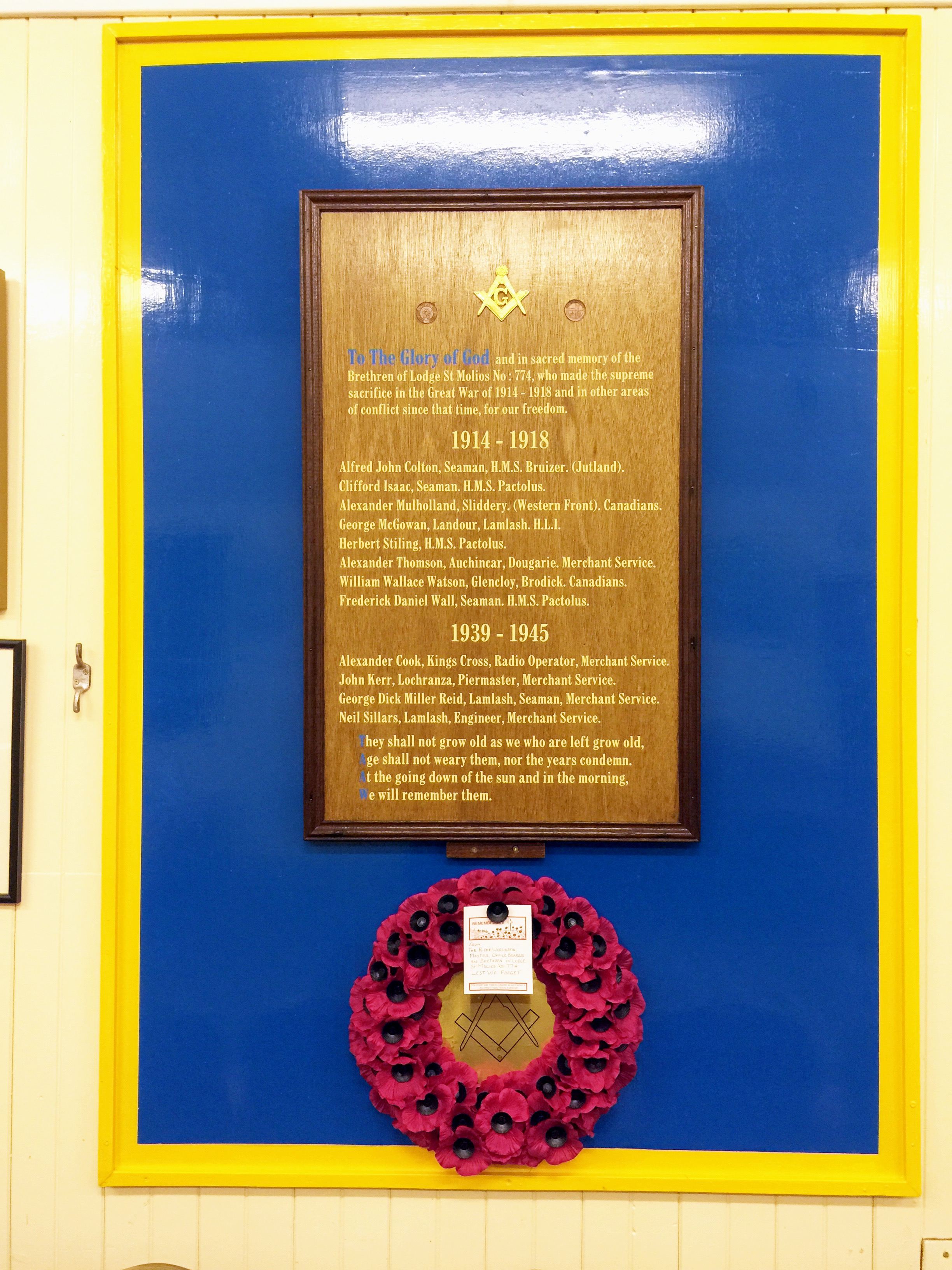 Roll of honour in memory of Arran's brethren who fell in the two world wars