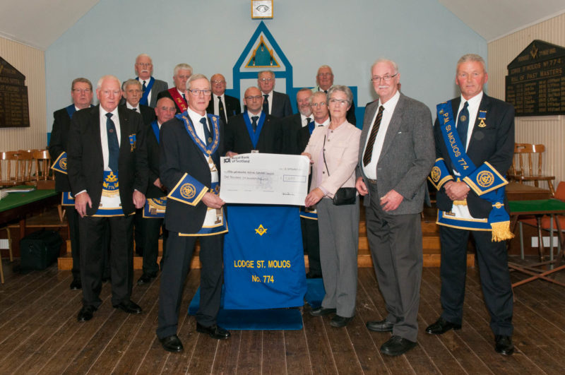 Presentation of cheque for £1600 to representatives of Arran War Memorial Hospital Supporters' League charity
