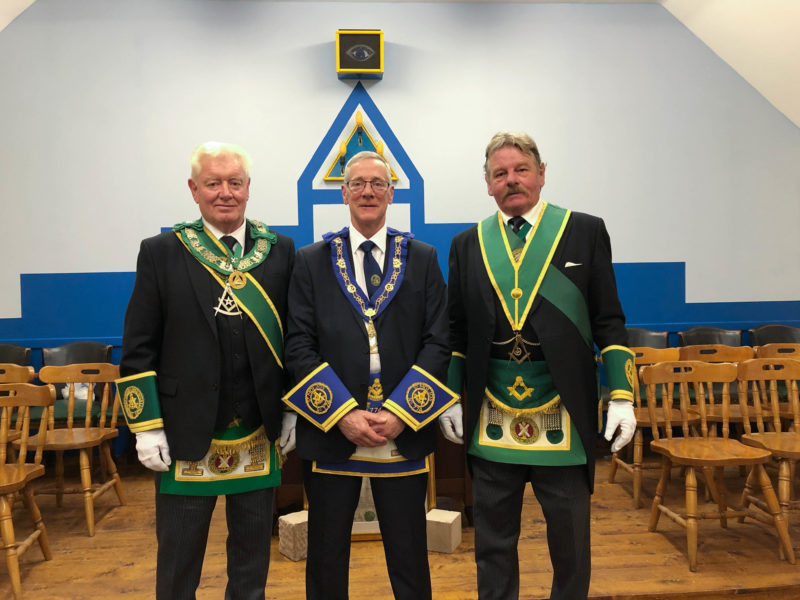 Dennis Warren, PGM of Galloway with RWM Chris Stirland and Donald Bannatyne, Depute PGM of Argyll & the Isles